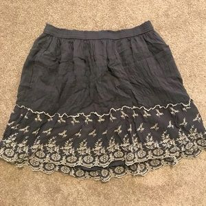 Embroidered ruffle skirt